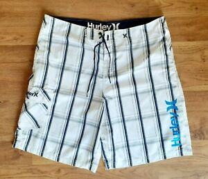 Hurley Mens Plaid Cargo Pocket Swim Trunks Board Shorts 38 Embroidered Logo EUC!