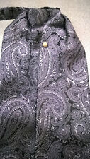 New Silver Black Paisley Ascot Cravat Formal Neck Tie