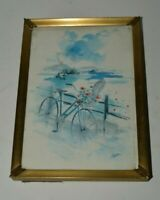Nice Vintage Bicycle Water Color Painting Small Framed Print Rare Floral Bike