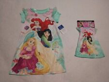 "NWT Disney Princess Rapunzel Ariel Mulan Girl Nightgown & Matching 18"" Doll Gown"