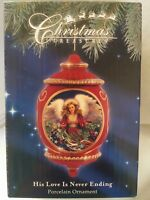 $62@Macy's Porcelain Gold Trimmed Pretty Red Angel Setting w/Holly Xmas Ornament