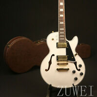 New Arrival F hole Custom LP Electric Guitar Pearl White Semi Hollow Body