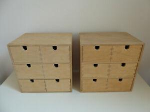 2x IKEA MOPPE Minikommode Kommode Holzkasten Karteikasten Schubladenkasten Holz