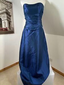 Berkertex Maxi Dress Evening Blue Taffeta Gown Size 14 Sleeveless Bridesmaid
