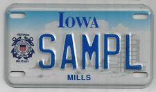 IOWA SAMPLE MOTORCYCLE LICENSE PLATE United States Coast Guard Retired