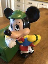 Vintage Disney Mickey Mouse Safe Plastic Coin Money Piggy Bank Rubber