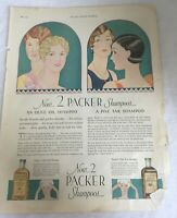 1927 Print Ad Packer's Pine Tar Olive Oil Shampoo Hair Care Art Deco Color Decor