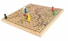 Wooden Traditional Snakes And Ladders Board Game Fun Family Play Toy Kids Box