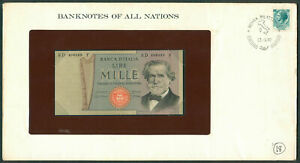 BANKNOTES OF ALL NATIONS ITALY 1980 UNC with Stamp on envelope