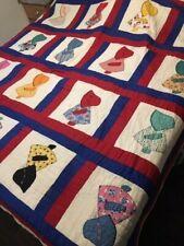 Vintage Sunbonnet Sue Embroidery Twin Quilt Bedspread Blanket 86 X 72 Antique