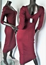 NWT-MATERIAL GIRL RED WINE SCOOP NECK 3/4 SLEEVE RIBBED COTTON MIDI PENCIL DRESS