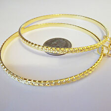 CLIP ON 3in GOLD TONE XXLarge Big Chain Design Hoop Non-Pierced Earrings S179