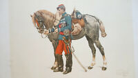 """FRENCH ARMY Dragoon Cavalry & Horse after Detaille - 1890s Color Print 12x17"""""""