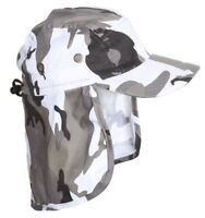 Top Headwear Vacationer Flap Hat With Full Neck Cover - Winter Grey Camoflauge