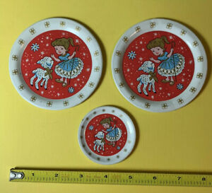 Vintage 1950s Ohio Art Tin Litho 3 Pc Tea Plates Mary Had A Little Lamb Bo Peep