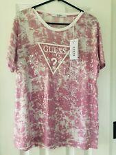 Women's Guess Pink Sequin Tye Dyed Pattern T-Shirt Original Top-Size M BRAND NEW