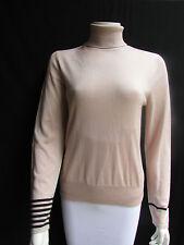 Akris Women Pink Beige Cashmere Silk Classic Turtleneck Sweater Knit Top Size 10