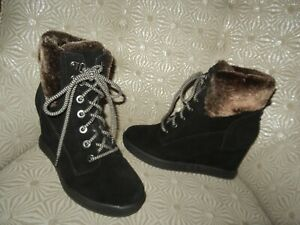 EASY SPIRIT Evolve Everett Womens Black Waterproof Suede Lace Ankle Boot 8M $170