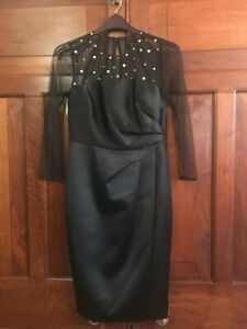 COAST Dress UK 10 LUCY Black Pearl Satin Party Cocktail Cruise BNWT £149