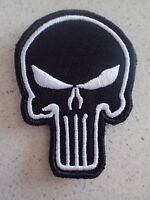 New Punisher White in Black tactical Morale Hook Loop Patch Aussie Stock