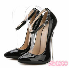Sexy Womens Super High Metal Heels Ankle Strap Patent Leather Dress Pumps Shoes