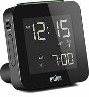 Braun Digital Globally Radio Controlled Travel Alarm Clock Black - BNC009BK-RC
