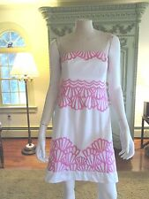 -LILLY PULITZER STRAPLESS DRESS, 6 , WHITE , HOT PINK DESIGNS, LINED , DRESSY