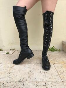 Christian Louboutin Black Leather Lace Up Lug Heel Over the Knee Corset Boots