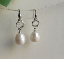 Genuine 925 sterling silver 11-13mm drop freshwater pear CZ dangle earrings