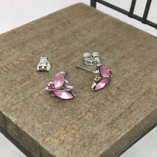 Pink Butterfly Crystal Titanium Post Stud Earrings US Seller Made in Korea