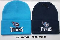 READ LISTING! Tennessee Titans HEAT Applied Flat Logos on 2 Beanie Knit Cap hat!