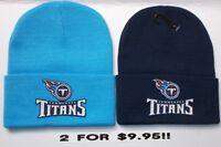 READ LISTING! Tennessee Titans HEAT Applied Flat Logos on 2 Beanie Knit Cap hat!