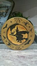 """Original Halloween Witch On Broom Moon Bates Spider Webs Hand Painted 8.5"""" Plate"""