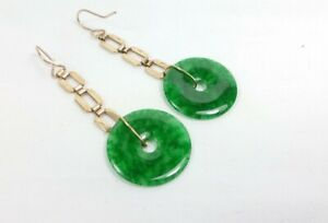 SUPERB ANTIQUE ART DECO 9CT GOLD AND SPINACH JADE / JADITE DISC DROP EARRINGS