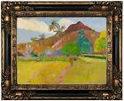 Gauguin Tahitian Landscape 1891 Wood Framed Canvas Print Repro 12x16