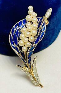 Rare Trifari Alfred Philippe Blue Enamel And Pearl Blooming Flower Spray Brooch