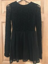 Missguided Black Lace Skater Dress Christmas New Years Eve Size 12