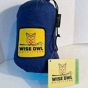 Wise Owl Outfitters Hammock Double Person Camping Navy Turquoise Tree Straps New