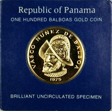 Panama 100 Balboa 1975 Gold Coin ~ Brilliant UnCirculated bullion franklin mint