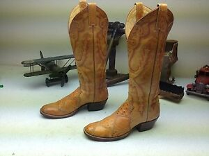 CLASSIC 1983 CUSTOM BROWN LEATHER  MADE IN USA OSTRICH COWBOY WESTERN BOOTS 5.5A