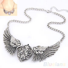 EP_ Hot Crystal Rhinestone Turquoise Angel Wings Collar Chain Women Dresses Neck