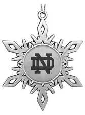 NEW! University of NOTRE DAME FIGHTING IRISH PEWTER SNOWFLAKE CHRISTMAS ORNAMENT