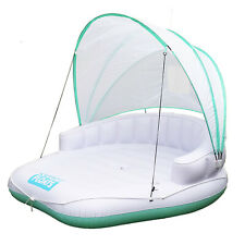 COMFY FLOATS Cabana Pool Float w/ Retractable Cover & Cool Misting, White (Used)