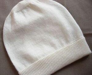 Cream White 100% Pure cashmere Hat  Ski beanie Winter Cap skull Unisex