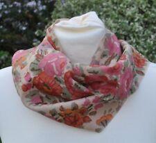 Scarf in Liberty Varuna Wool floral pink, green cream
