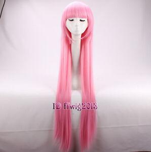 Princess Bubblegum 39 inch Long Straight Pink Neat Bang Cosplay Wig