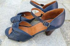 Chie Mihara Navy Blue Leather Criss Cross High Heel Sandal 40 US 9 Worn Once