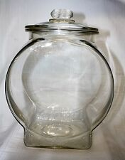 Original Planters Peanut Fishbowl Glass Counter Peanut Jar with Finial Lid, 1929