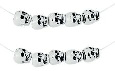 10 SKULL BEADS 10MM SIZE 4MM HOLE WHITE BLACK FEATURES NEW PIRATE GOTH DREADS