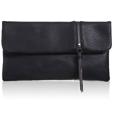 Fold-Over Slouch Medium Soft Faux Leather Evening Bags Women Designer Zip Clutch